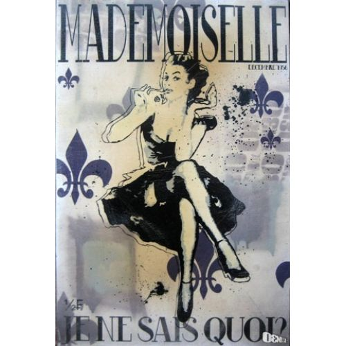 Street Art : New Vintage  Mademoiselle : 12'' X 18''  By artist D3N!@L aka Daniel Bombardier from Windsor Ontario