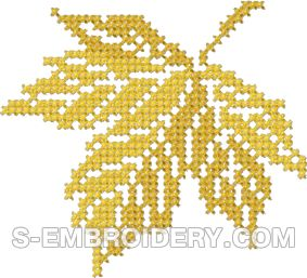 Autumn leaf cross stitch machine embroidery design #3