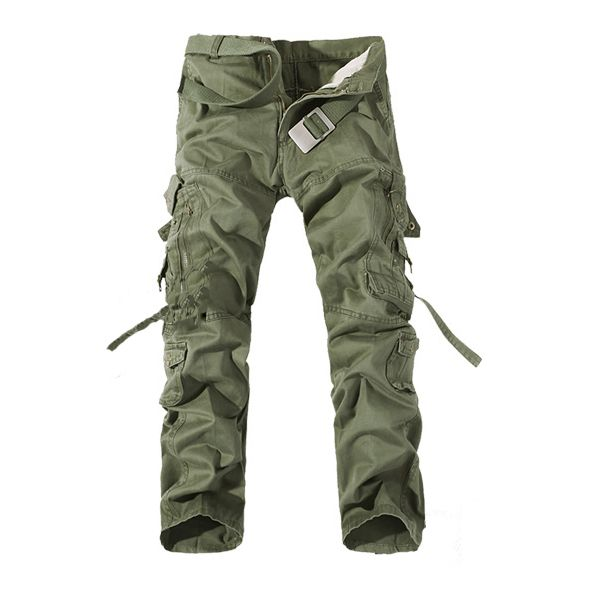 Mens Cargo Pants Multi Pockets Casual Cotton Pants Work Overalls - US$20.55