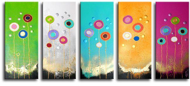 Kunstenares Ines heeft ook een aantal vijfluik-schilderijen gemaakt.De kunstschilderijen van Ines zijn vaak te herkennen aan de vele moderne hippe kleuren.