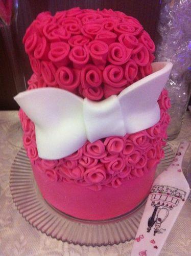 Roze met strik