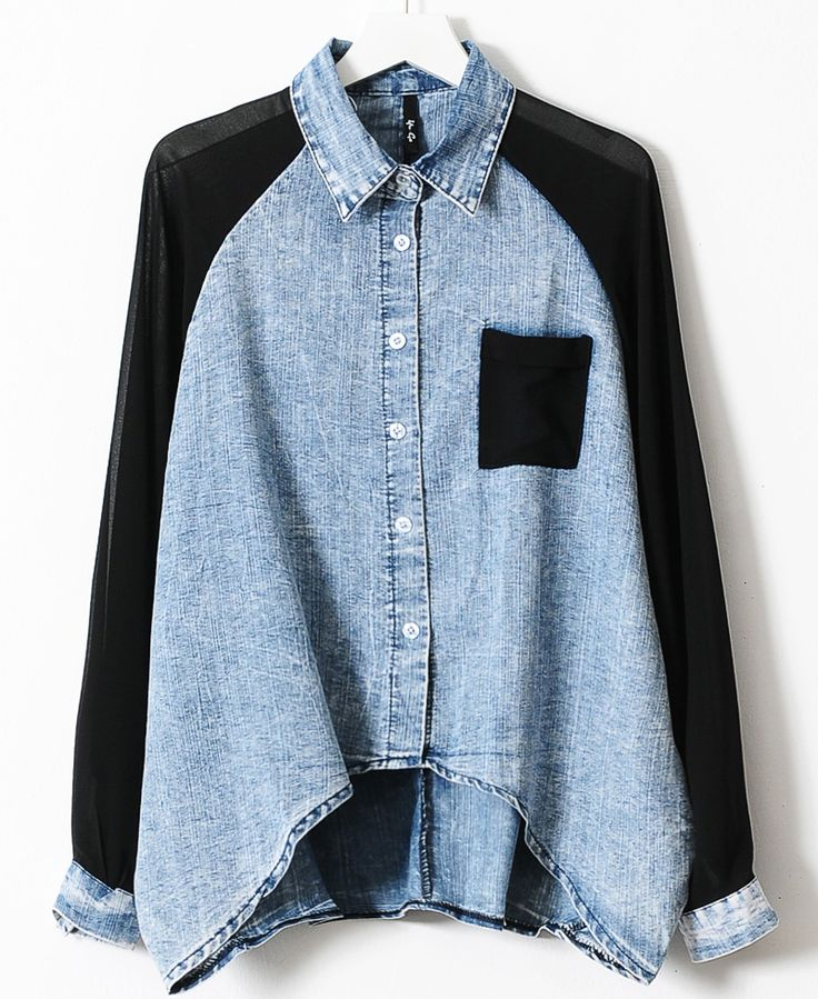 Blue Contrast Black Chiffon Batwing Sleeve Denim Blouse - abaday.com