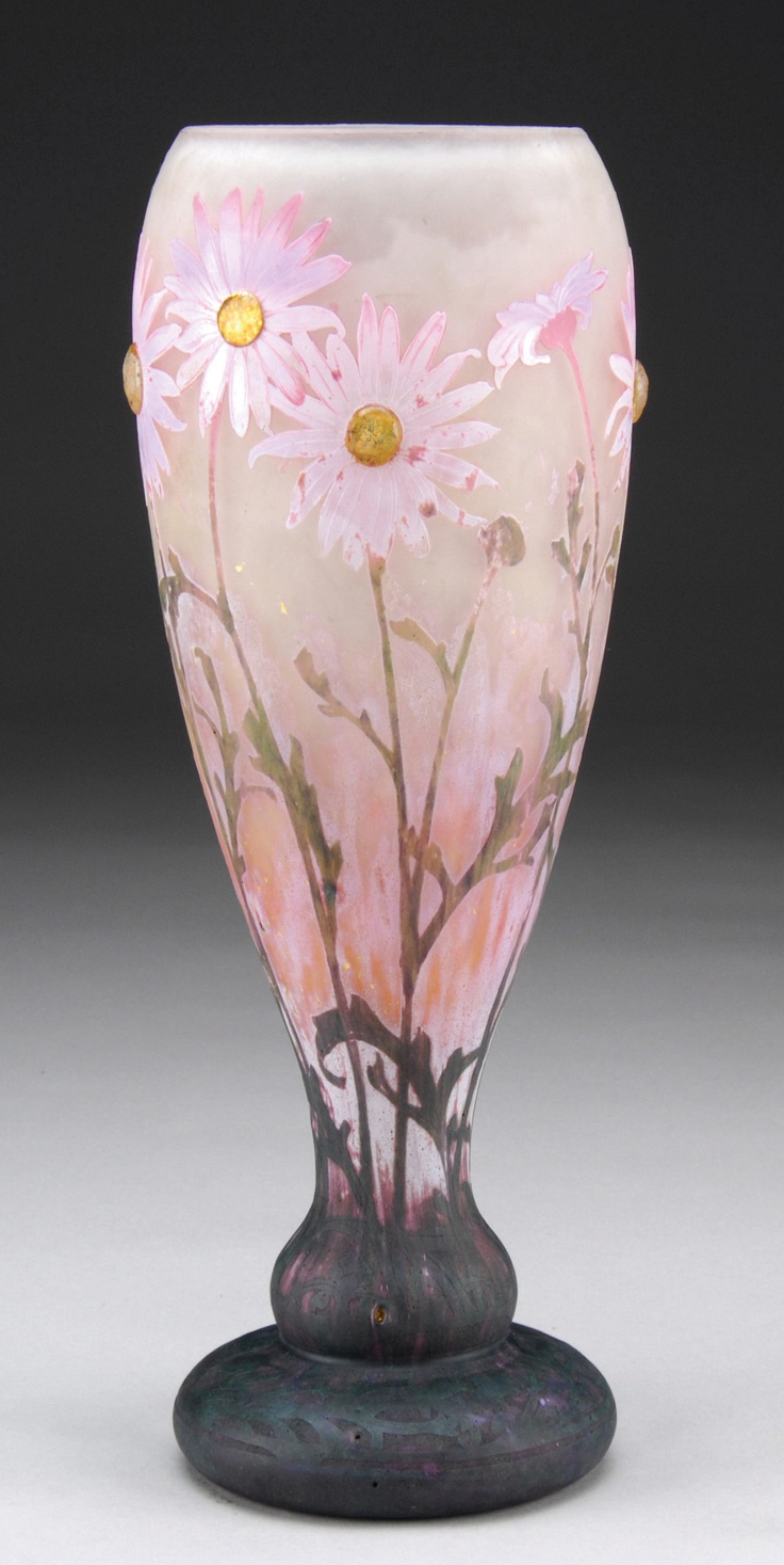 A Beautiful Daum Nancy Cameo And Applied Vase Decorated