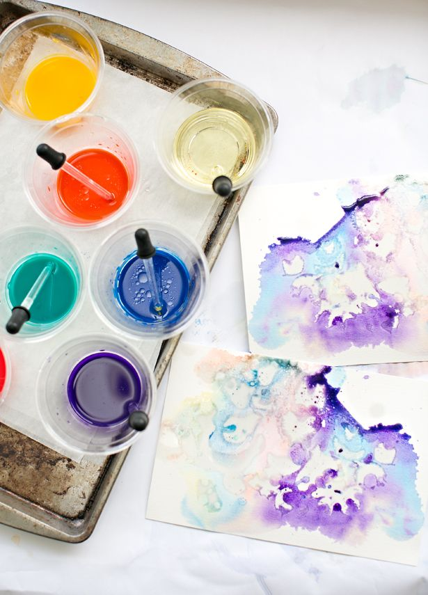 Marbled Watercolor and Oil Paintings. Fun art project for the kids with beautiful results.