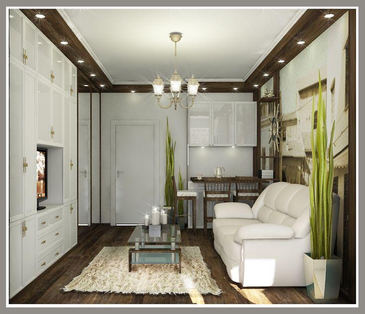 Комната в коммунальной квартире 25 м.кв. Вид на гостиную зону