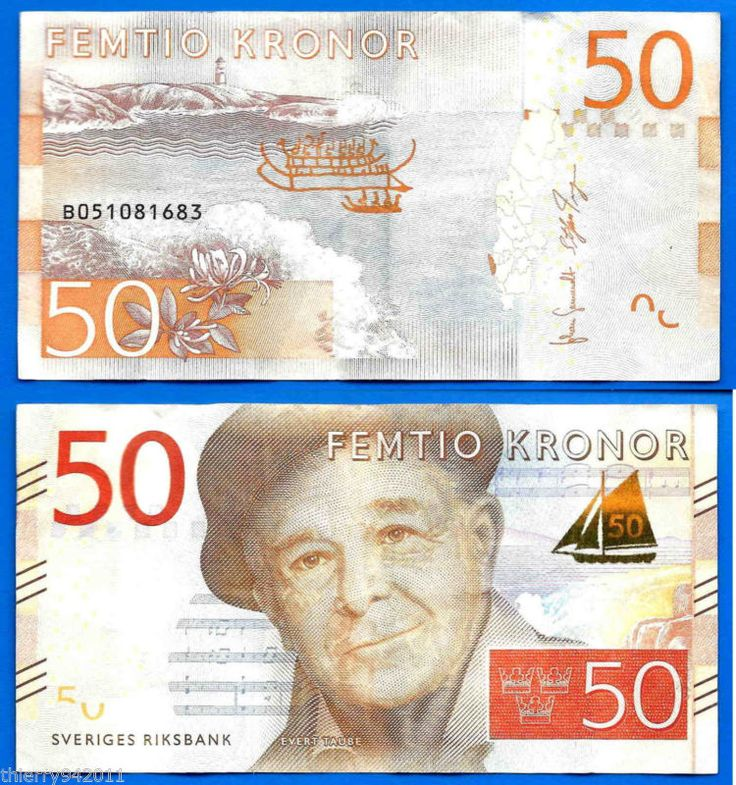 Banknote: ($12.8) Sweden 50 Kronor 2015 Sveriges Evert Taube Europe Free Shipping World