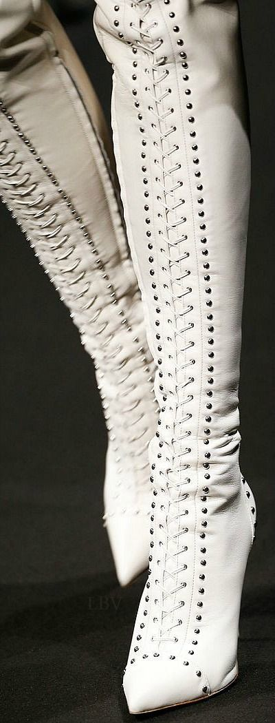 Altuzarra ~ White Leather Lace-up Over the Knee Boots for Fall 2015
