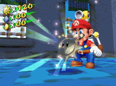 In Super Mario Sunshine, if you jump into a Shine Sprite while holding R to spray water, FLUDD will be performing the spray animation in the following cutscene, causing it to clip through Mario's head.