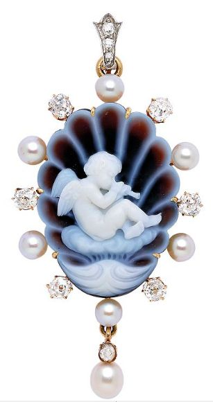 An Antique Pearl and Diamond Cameo Pendant, circa 1870 Of shell motif, the oval slightly concave cameo depicting a cherub playing a flute and reposing atop a cloud, surrounded by small pearls and old mine-cut diamonds, suspending a pearl and diamond drop, (pearls not tested for natural origin), hinged bail, mounted in 18k gold
