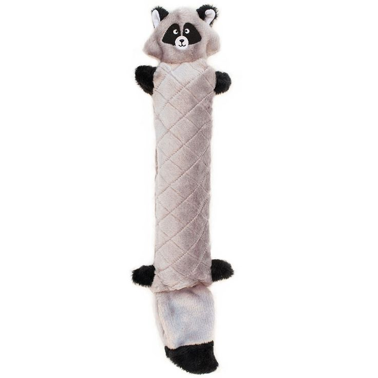 This Raccoon Plush Dog Toy comes with noisemakers that squeak when shaken! Added crinkle paper inside head and tail makes them even more fun for dogs. Each toy is lined with an extra layer of tough Co