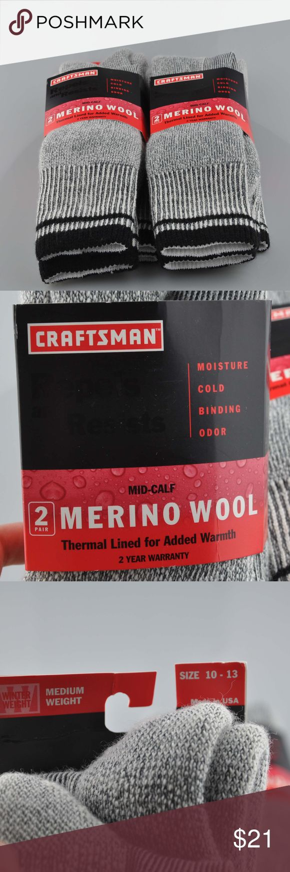 Lot of 2 Men's Craftsman Merino Wool Socks Sz: L Sock are brand new, never been worn. Listing for two packages of socks with two pairs in each for a total of four pairs.  Size L 10 - 13 Medium Weight Charcoal grey and black color Merino Wool Mid Calf  Thermal Lined for warmth Wicking keeps feet dry Smooth toe seam Medium Weight Acrylic/wool blend Fully cushioned for all day comfort  65% acrylic 20% Merino/wool blend 14$ stretch nylon 1% spandex  Turn inside out and machine wash with like…