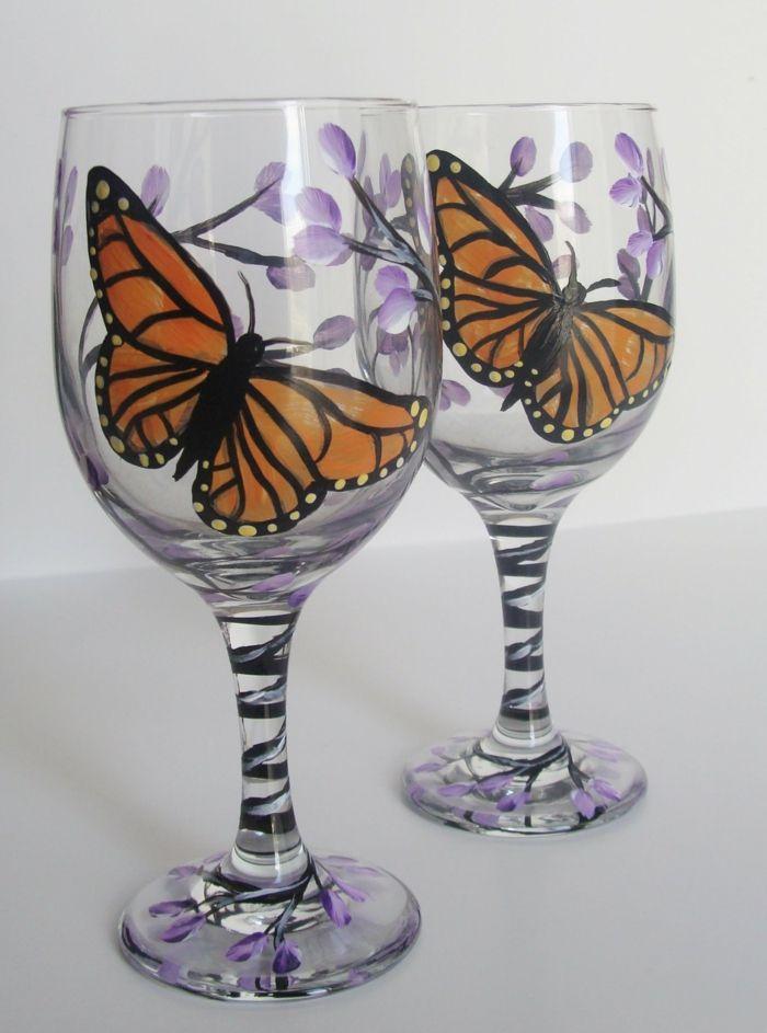 1001 Ideen Fur Glas Bemalen Zur Inspiration Und Zum Entlehnen Glaser Bemalen Bemalte Weinglaser Basteln Mit Flaschen