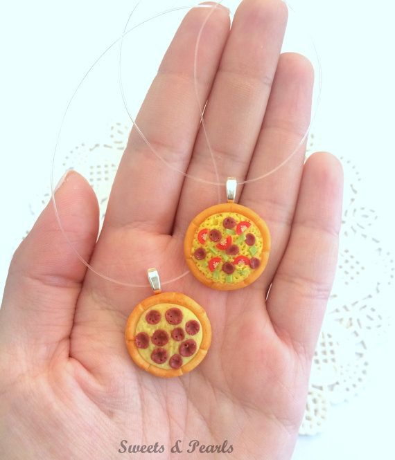 Sweet Miniature Handmade Cute Pepperoni Special Pizza Necklace Pendant/Polymer Clay Fimo Decoden Kawaii/Yummy Jewerly Baking Fake Food