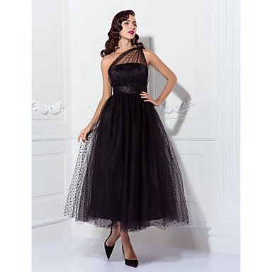 A-line One Shoulder Tea-length Tulle Cocktail/Prom Dress Inspired By Kaley Cuoco At The Emmys  – USD $ 74.99