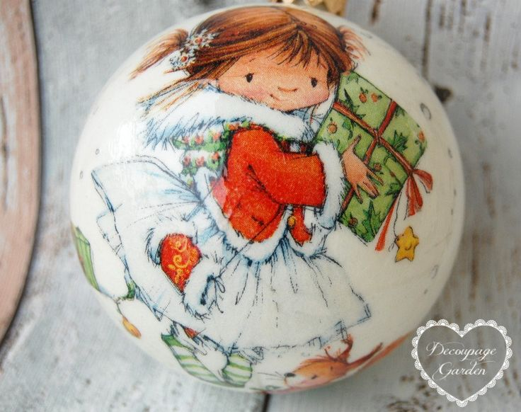 Christmas Ball, Christmas Ornaments with Christmas Girl Christmas Decoupage, Christmas Craft by DecorativeGarden on Etsy