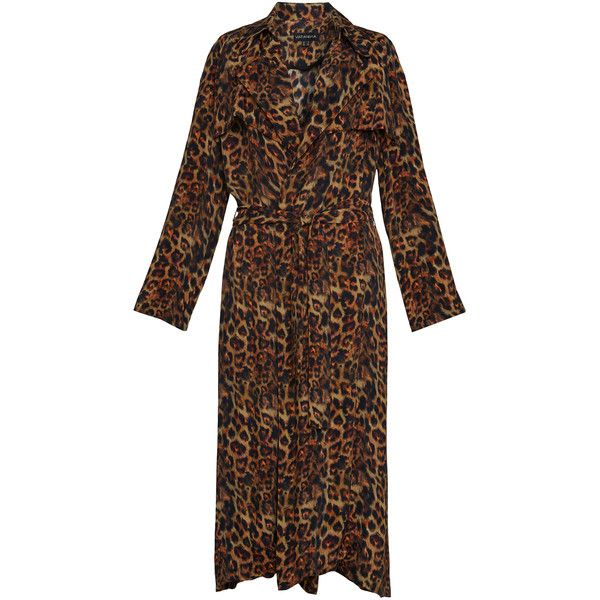 PRINTED CUPRO TRENCH COAT ❤ liked on Polyvore featuring outerwear, coats, brown trench coat, brown coat and trench coats