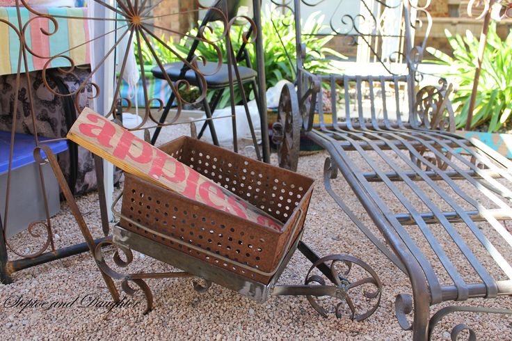 Handcrafted rustic diptin wheel barrow, gate & chaise lounge