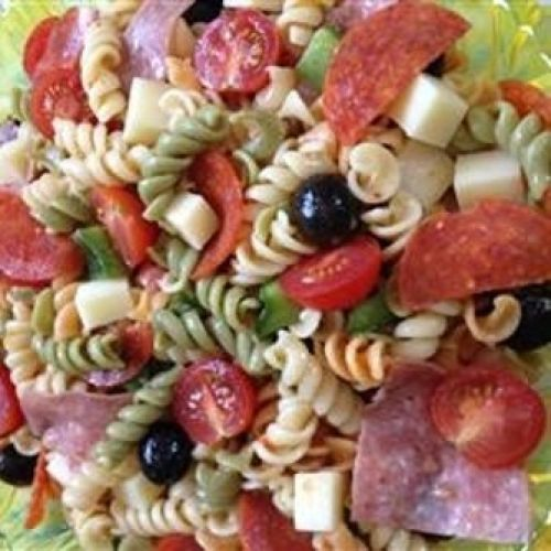 Awesome Pasta Salad- III, Prep Time: 10 minute(s), Cooking Time: 10 minute(s), Serves: 12 Servings, Directions: 1. Bring a large pot of lightly salted water to a boil. Add pasta, and cook for 8 to 10 minutes or until al dente. Drain, and rinse with cold water. 2. In a large bowl, combine pasta with tomatoes, cheese, salami, pepperoni, green pepper, olives, and pimentos. Pour in salad dressing, and toss to coat.