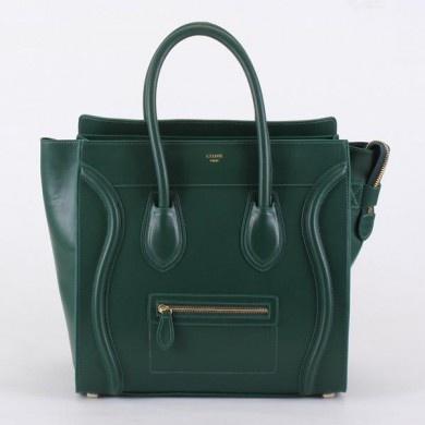 Celine Boston Smile Tote Handbags 98169 Dark green - CELINE handbags - Replica Handbags