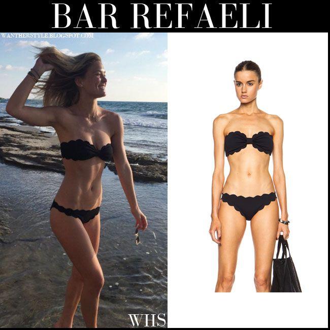 Bar Refaeli in black scalloped bikini
