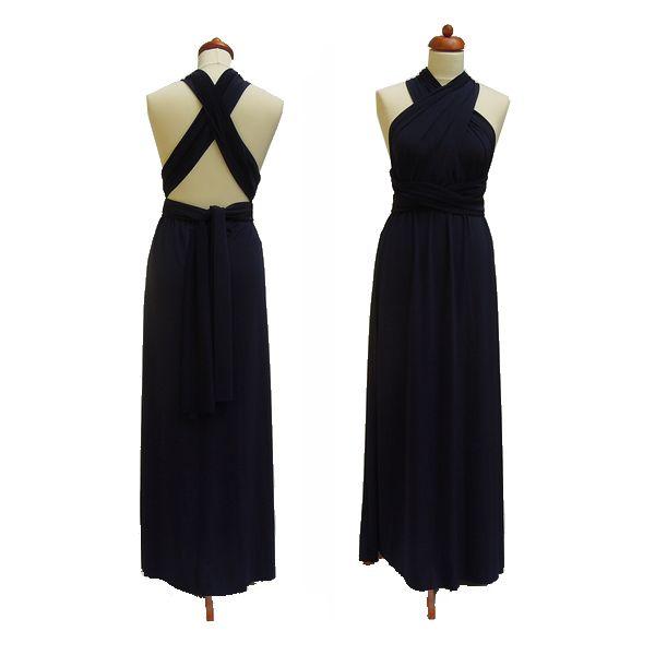 Dlouhé tmavě modré šaty. Variabilní šaty Convertibles jsou ideální na svatbu, maturitní ples, společenské akce i denní nošení. Uvažte si je jakkoliv budete chtít a pokaždé v nich můžete vypadat jinak.