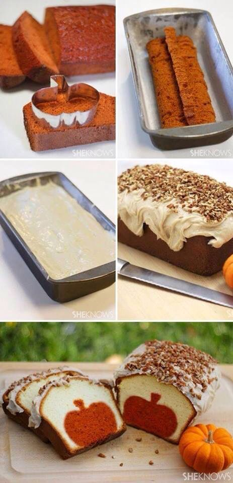You could totally veganize this.... such a cool idea!!!! (could also make a ghost cake, instead of pumpkins )