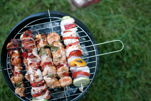 Shrimp and vegetable kebobs!