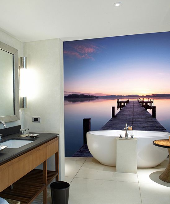 Pier At Sunrise Mural. Wonderful Bathroom Wallpaper.  Http://prolabdigital.com Part 98
