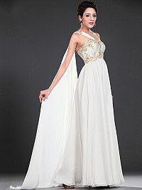 One Shoulder Rhinestone Appliqued Flowing Wedding Dress with Watteau Train