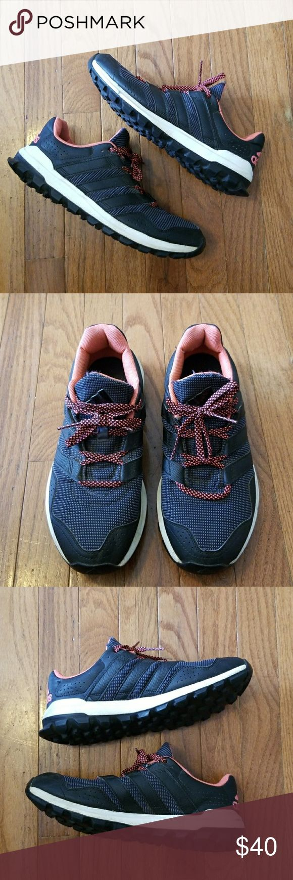 Cute Women's Adidas Trail Running Hiking Shoes 9 Very cute hybrid hiking/running trail Adidas Sneakers black and pink. Size 9. adidas Shoes Athletic Shoes