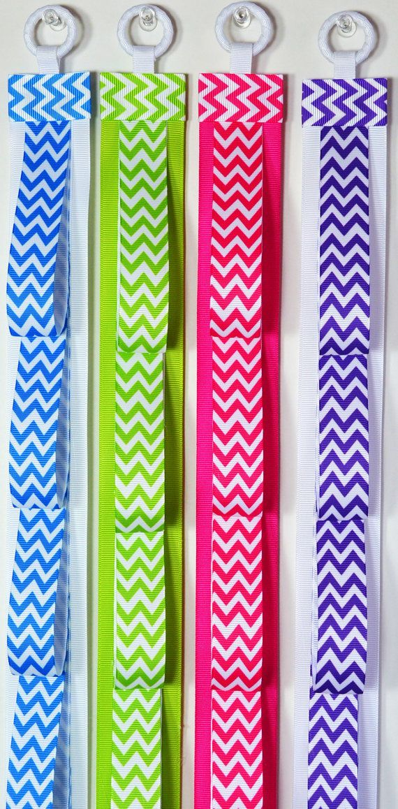 ONE - Handmade Chevron Print Ribbon Headband Holder via Etsy