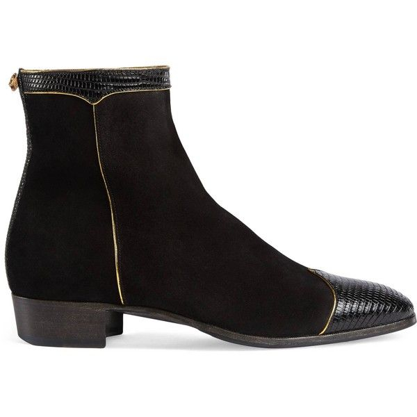 Gucci Suede And Lizard Boot ($1,550) ❤ liked on Polyvore featuring men's fashion, men's shoes, men's boots, black, mens suede boots, mens suede shoes, mens suede ankle boots, mens black shoes and mens leather sole shoes