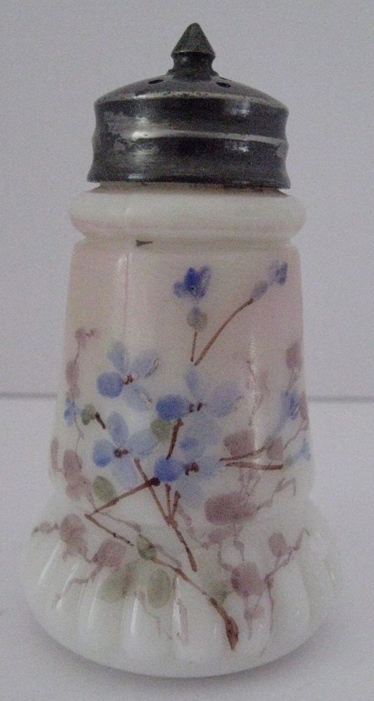 Wavecrest Rib Base Milk Glass Salt Shaker Hand Painted Blue Flowers Original Top