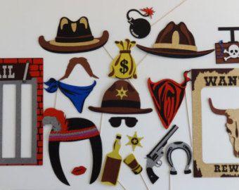Chica de foto occidental cabina apoyos vaquero foto Booth Props Sam bigote salón poco ponly insignia