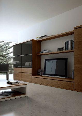 Amplio conjunto de Mueble de Salón de madera y cristales en negro - Zb muebles Zaragoza