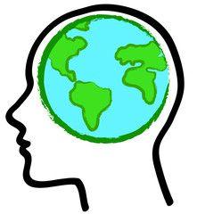 Pensiero ecologico: profilo con icona della terra