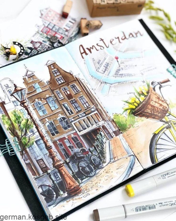 La città schizza Amsterdam. Schizzi di diario di viaggio e disegni di Moleskine. Da Irina …