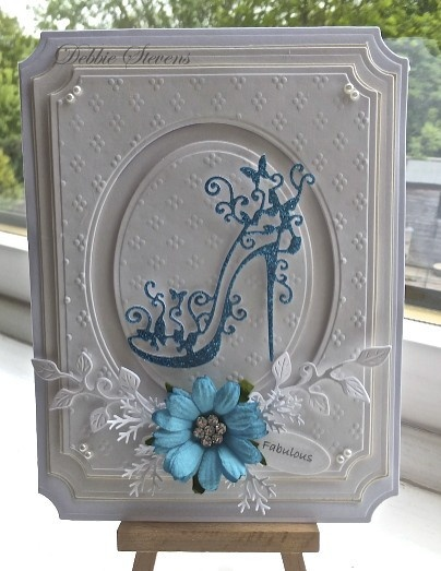 Lovely cards, mainly in white Shoe card can be found here: http://paperpastimes.wordpress.com/2013/05/23/fabulous/
