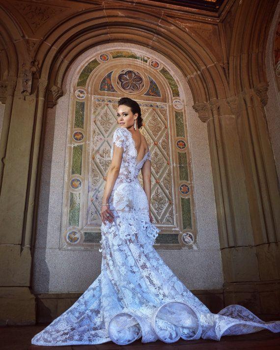 Irina Shabayeva Couture  lace applique gown with by IRINASHABAYEVA
