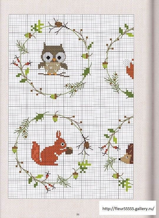 Little animals garlands cross stitch