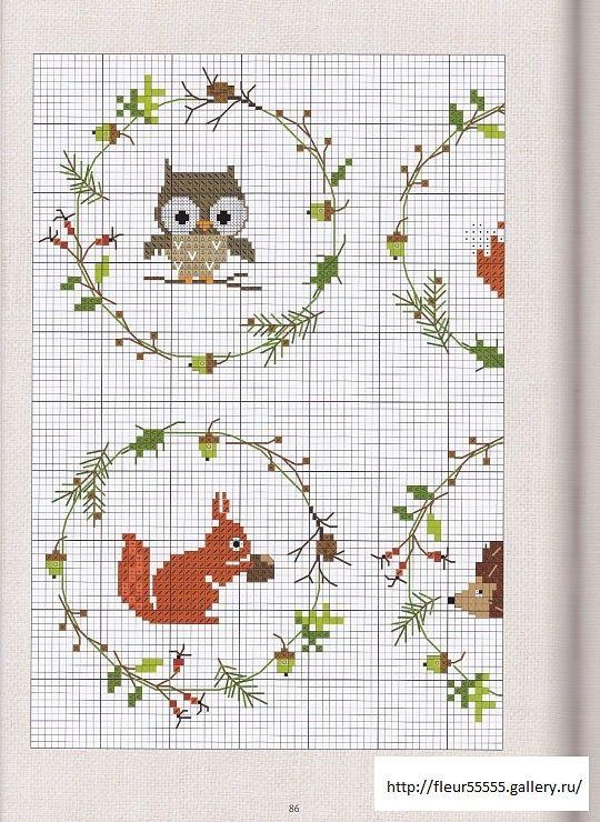 Little animals garlands cross stitch
