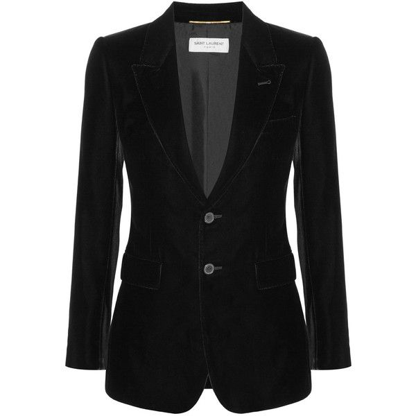 Saint LaurentAngie Velvet Blazer (€2.465) ❤ liked on Polyvore featuring outerwear, jackets and blazers