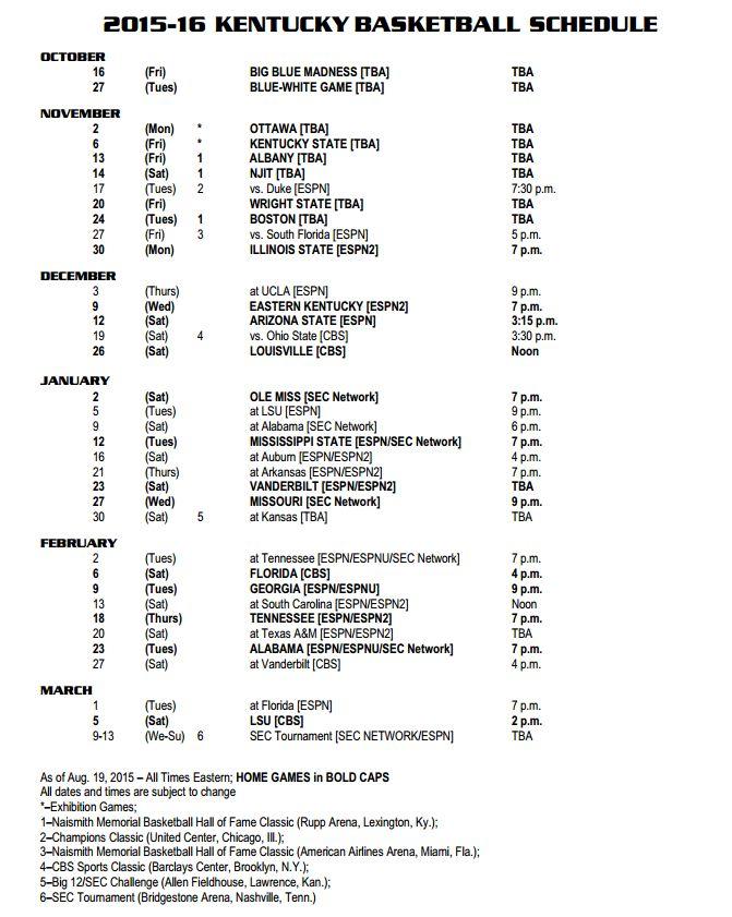 UK 2015-2106 Basketball Schedule