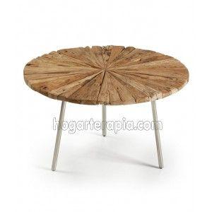 Mesa de centro SAKUI de madera de teca con las patas cromadas. Una mesa de estilo balinés realmente original que llamará mucho la atención. Esta mesa va a juego con la mesa SAEN. Combínalas para dar un aire muy natural a tu hogar. Esta mesa de centro tiene un diámetro de 70 cm. y una altura de 40 cm. Su peso es de 7,5 kg.