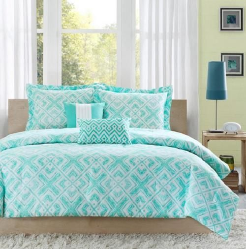 Twin twin xl girls teen teal blue white modern geometric comforter bedding set i am teal blue - Bedspreads for teenagers ...