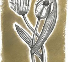 Tulips in charcoal (3 of 3) by Annalisa Amato