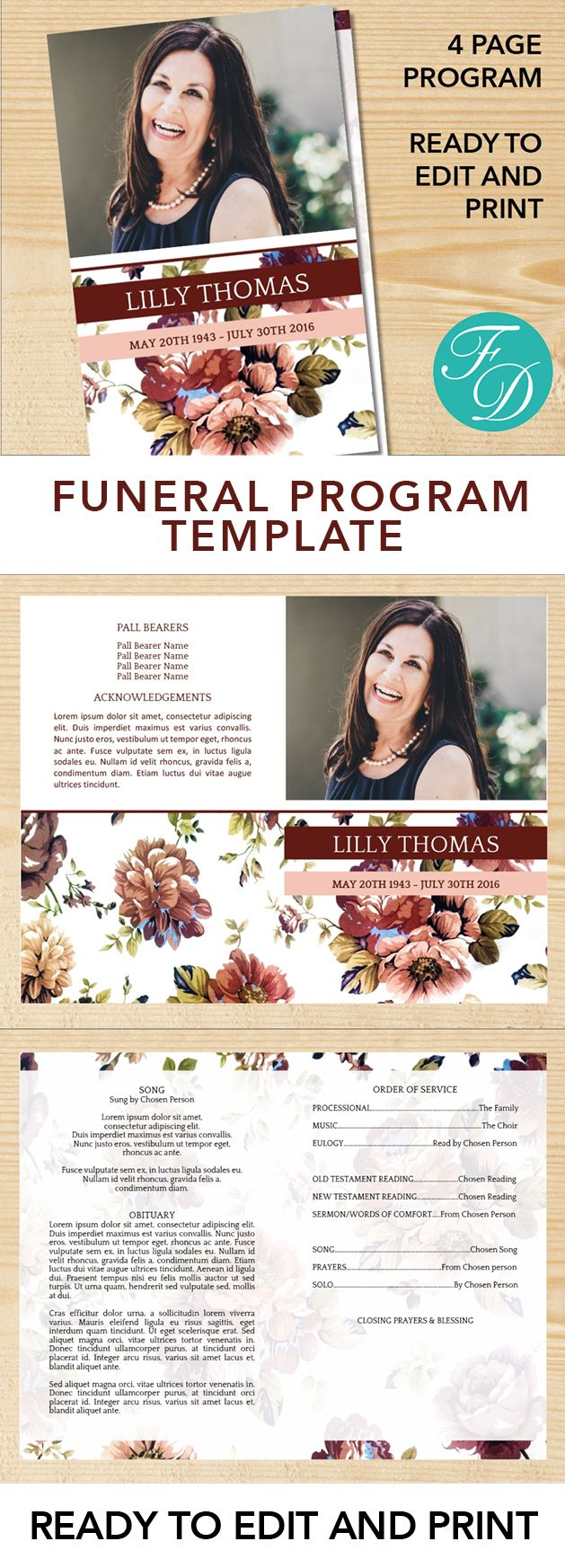 Vintage Printable Funeral program ready to edit & print Simply purchase your funeral templates, download, edit with Microsoft Word and print. #obituarytemplate #memorialprogram #funeralprograms #funeraltemplate #printableprogram #celebrationoflife