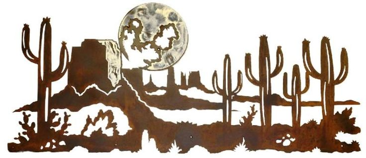 Desert Cactus and Moon Scene Burnished Steel southwestern Wall Sculpture southwest decor rustic ironwood industires american made usa