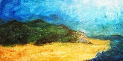 Paisaje de Playa, óleo s/tela, 90 x 155 cms. @copyright Carolina Busquets.