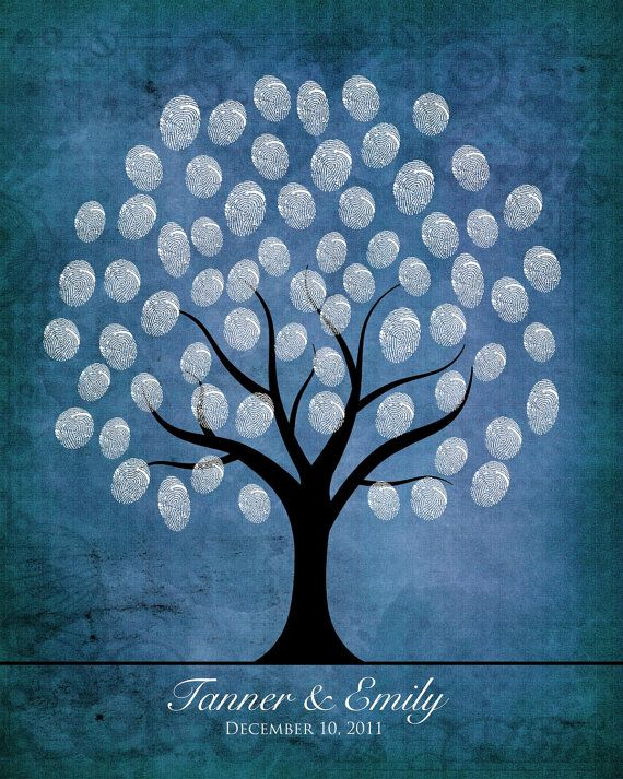 winter wedding fingerprint guestbook tree diy by dovelyday on Etsy, $14.75